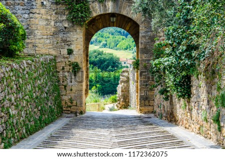 Gate archway from old city, Italy, Monteriggioni