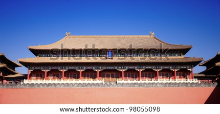 gate building of forbidden city,beijing China