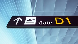 Gate D1. Sign in ukrainian airport. Interior of the airport.
