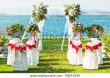 Gate for a wedding on a tropical beach