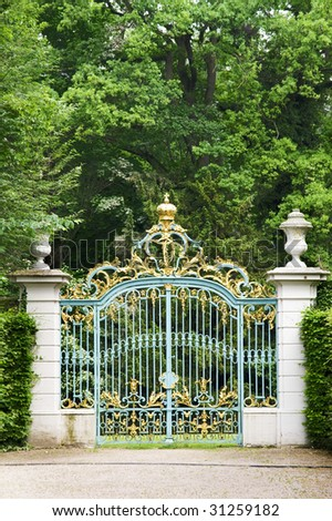 Gate in Garten. Scwetzingen Castle. Germany