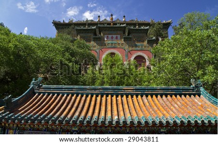 Gate Longevity Hill Summer Palace Beijing China - stock photo