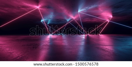 Gate Neon Glowing Purple Blue Led Laser Vibrant Path Entrance Stage Night Background Concrete Reflective Futuristic Sci Fi Retro Modern Udnerground Tunnel Corridor Alien Spaceship 3D Rendering