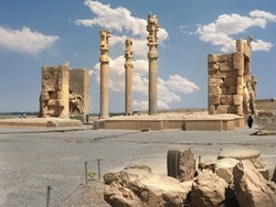 Gate of All Nations (Xerxes Gate) with stone statues of bulls in ancient city Persepolis, Iran. UNESCO world heritage site