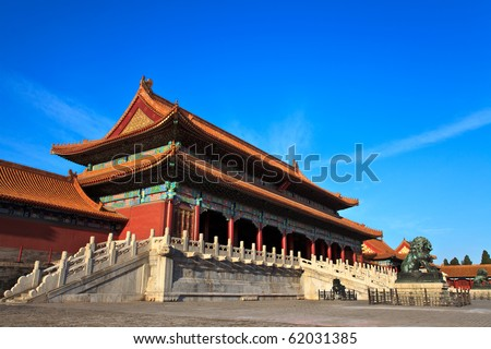 Gate of Supreme Harmony. Forbidden City in Beijing, China