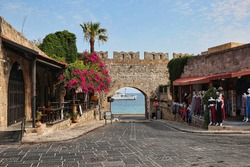 Gate of the Virgin in Principal City of Rhodes. Historical Gate to Old Town and part of Fortification in Greece. Greek Street during Day.