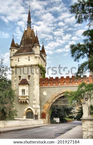 Gate of Vajdahunyad castle in Budapest, Hungary