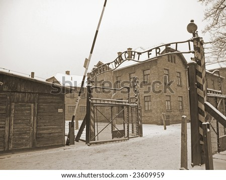 Gate  to Auschwitz concentration camp in Poland