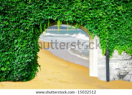 Gate to paradise: wall overgrown with green boston ivy with gate to exotic beach