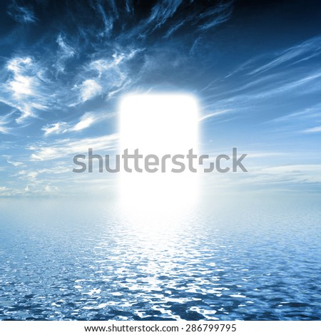 Gate to paradise, way on water towards light, new world. Concepts for religion, God, hope, faith.