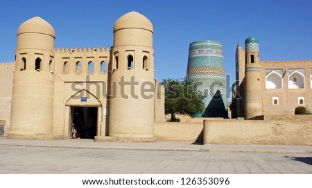 Gate to the ancient city of Khiva, silk road, Uzbekistan, Central Asia