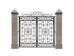 Gate with decorative columns.  Isolated over white background.