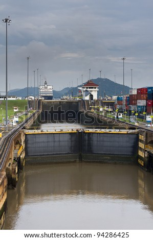 Gates and pool of the Miraflores Locks on the Panama Canal