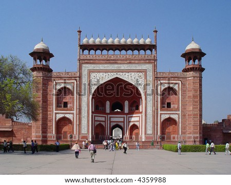 gates at west entrance to taj mahal agra india