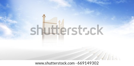 Gates of heaven above stairs in fog and under light with blue sky background - 3d rendering Сток-фото ©