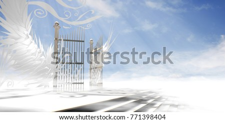 Gates of heaven concept wrapped in wings and ornaments over raised stair (version 2) - 3d high resolution rendering.