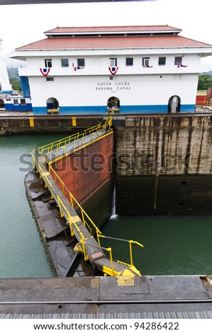 Gates on the Panama Canal locks at Gatun
