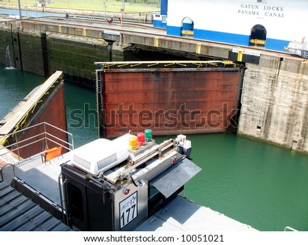 Gates opening in the Gatun Locks of the Panama Canal