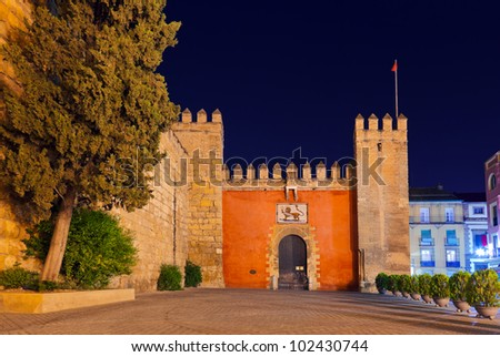 Gates to Real Alcazar Gardens in Seville Spain - architecture background