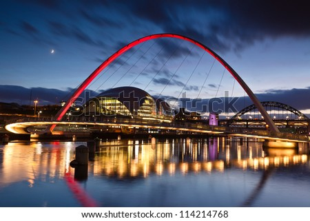 GATESHEAD, ENGLAND - NOV 28: Gateshead Millennium Bridge on November 28th, 2011 in Gateshead, England.The bridge design is the result of a competition held in 1996, won by Wilkinson & Eyre Architects