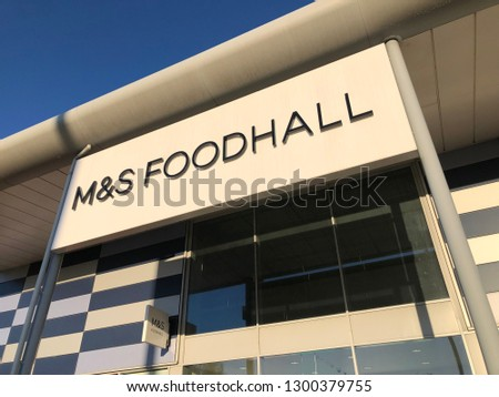 Gateshead, United Kingdom - January 31st 2019: Marks and Spencer (M&S) Foodhall Retail Shop, Store Front Signage taken at the Galleries Shopping Centre Retail Park, Washington - Tyne & Wear. #1300379755