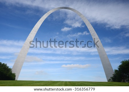 gateway arch in Saint Louis with blue sky and clouds #316356779