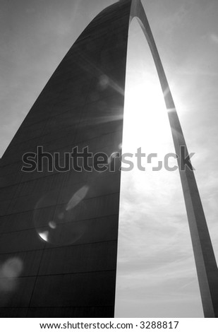 Gateway Arch in St. Louis with Sun Flare - Black & White