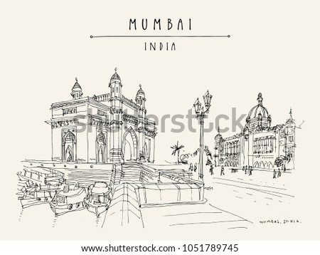 Gateway of India and Taj Mahal Palace Hotel in Mumbai (Bombay), India. Famous British time monuments, 20th century. Cityscape sketch. Travel art. Vintage hand drawn postcard