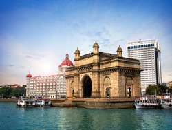 Gateway of India, famous hotel Mumbai Maharashtra monument landmark famous place  magnificent view without people with copy space for advertising Mumbai city
