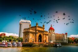 Gateway Of India Mumbai, Beautiful Landscape - Birds flying over, Cityscape - Famous Landmark Buildings