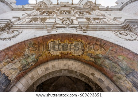 Gateway of Santa Maria erected in the 14th-century for the first entrance of the Emperor Charles V in Burgos, Spain #609693851