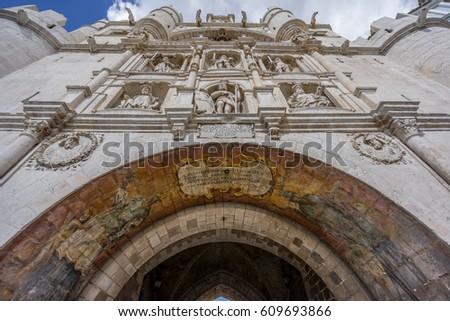 Gateway of Santa Maria erected in the 14th-century for the first entrance of the Emperor Charles V in Burgos, Spain #609693866