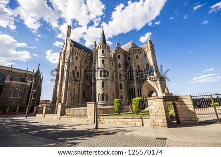 Gaudi Palace, Astorga, Pilgrim route to Santiago de Compostela, Spain, UNESCO - stock photo