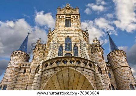 Gaudi Palace facade in Astorga, Leon, Spain