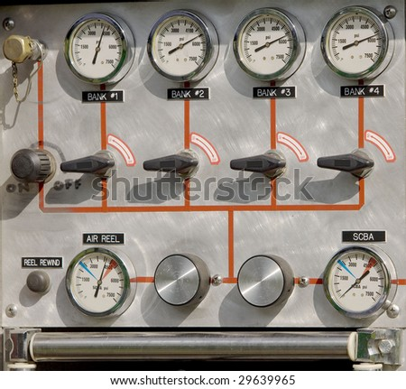 Gauge and dials on a fire truck
