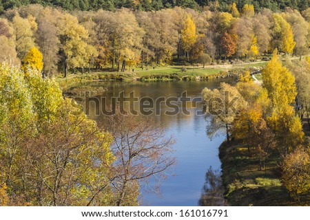 Gauja river. Autumn view from the high bank