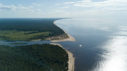 Gauja river Latvia drain into Baltic Sea aerial drone top view