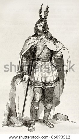 Gaul warrior old illustration. Created by Wattier after Herbe, published on Magasin Pittoresque, Paris, 1842
