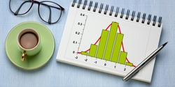 Gaussian, bell or normal distribution curve and histogram graph in a spiral notebook, with coffee and reading glasses, long banner format, business or science data analysis concept