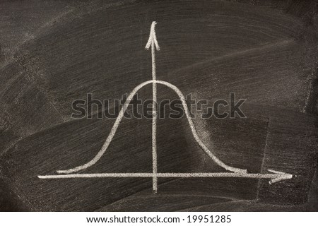 Gaussian, bell or normal distribution curve sketched with white chalk on a blackboard