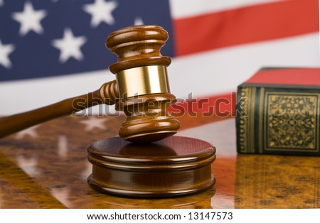Gavel and american flag, symbol for jurisdiction
