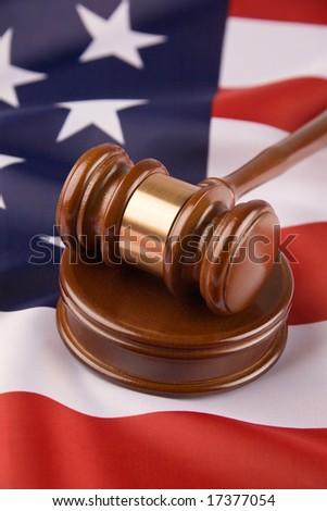 Gavel and american flag, symbol for jurisdiction