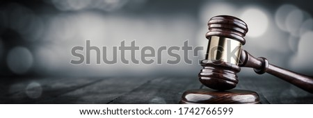 Gavel And Block On Wooden Desk With Bokeh Background - Law And Justice / Auction Concept ストックフォト ©