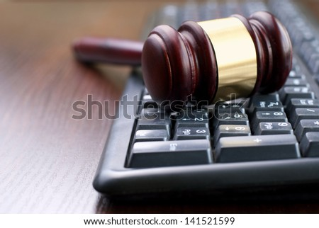 gavel and computer keyboard, conceptual image