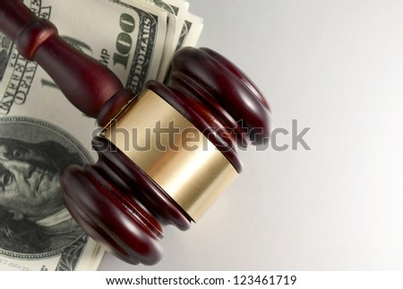 gavel and dollars on a gray gradient background - stock photo