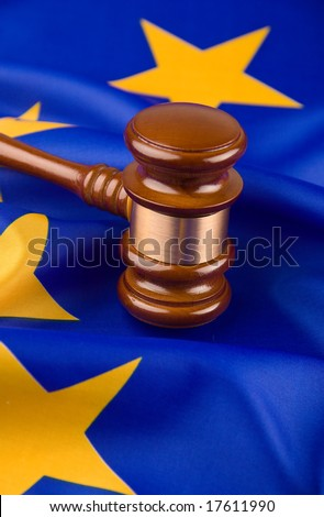 Gavel and european union flag