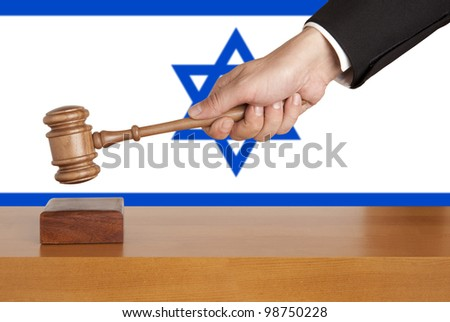 Gavel  and Flag of Israel