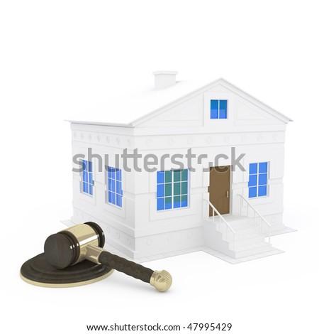 gavel and home - 3d illustration