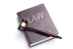 gavel and law book on a white background