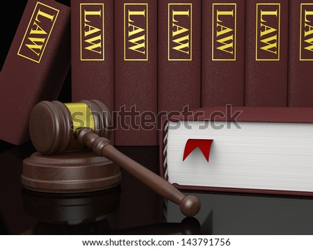 Gavel and law books, symbols of law and legal literature